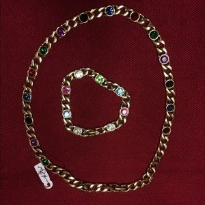 Set Bracelet and necklace with colored stones